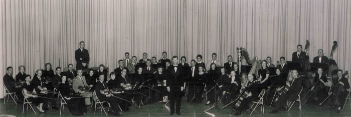 HSO on stage Dr Fraser FIRST CONCERT Hsv Civic Orchestra Dec 13 1955